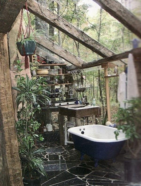 badezimmer holz mit dachschräge für den außenbereich