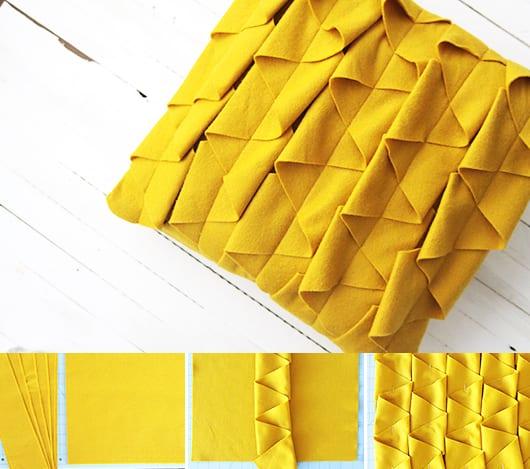 kreative Bastelidee für DIY Kissenbezug gelb
