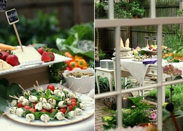 gartenparty inspiration mit Buffet