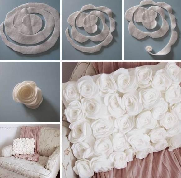 weiße kissen mit rosen selber nähen