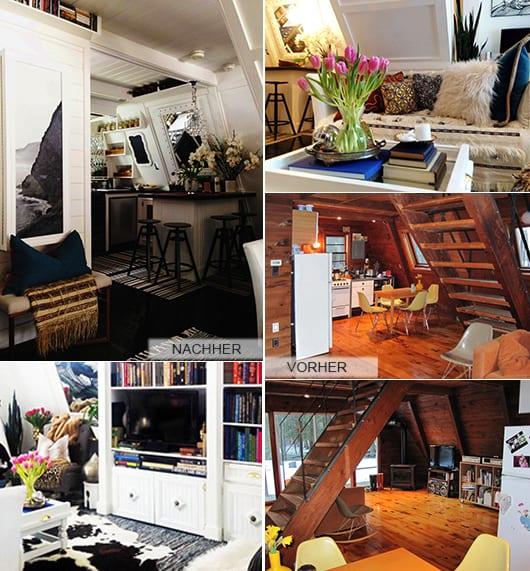 kleines wohnzimmer holz mit dachschräge_wand streichen idee in weiß und holzboden schwarz