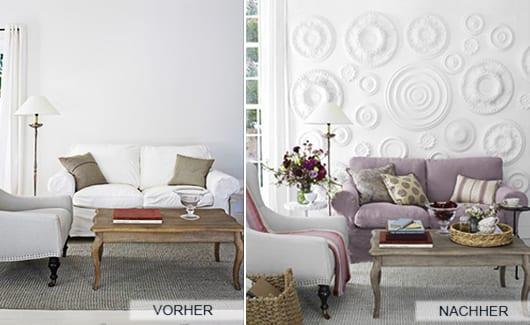 wohnzimmmer umgestalten mit wanddeko und sofabezug in lila