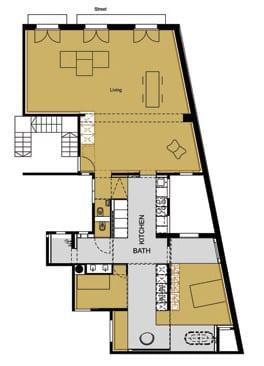 kreative Raumteilung einer Loft Wohnung