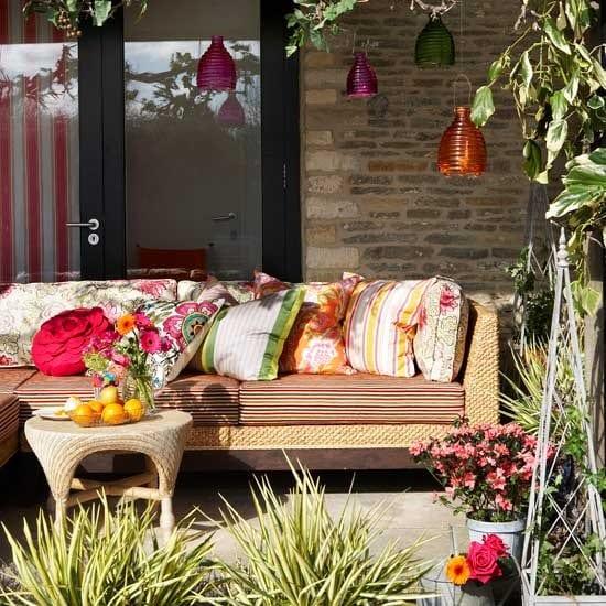 überdachte terrasse mit DIY teelichthalter gestalten