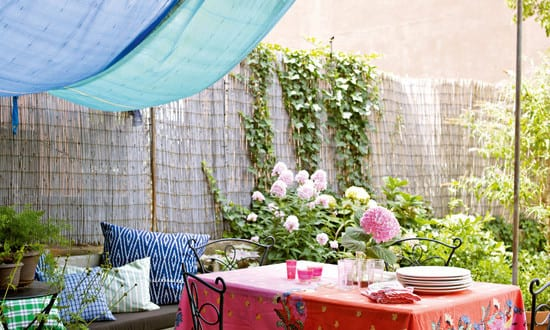 deko ideen f r gartenparty mit diy sonnensegel freshouse. Black Bedroom Furniture Sets. Home Design Ideas