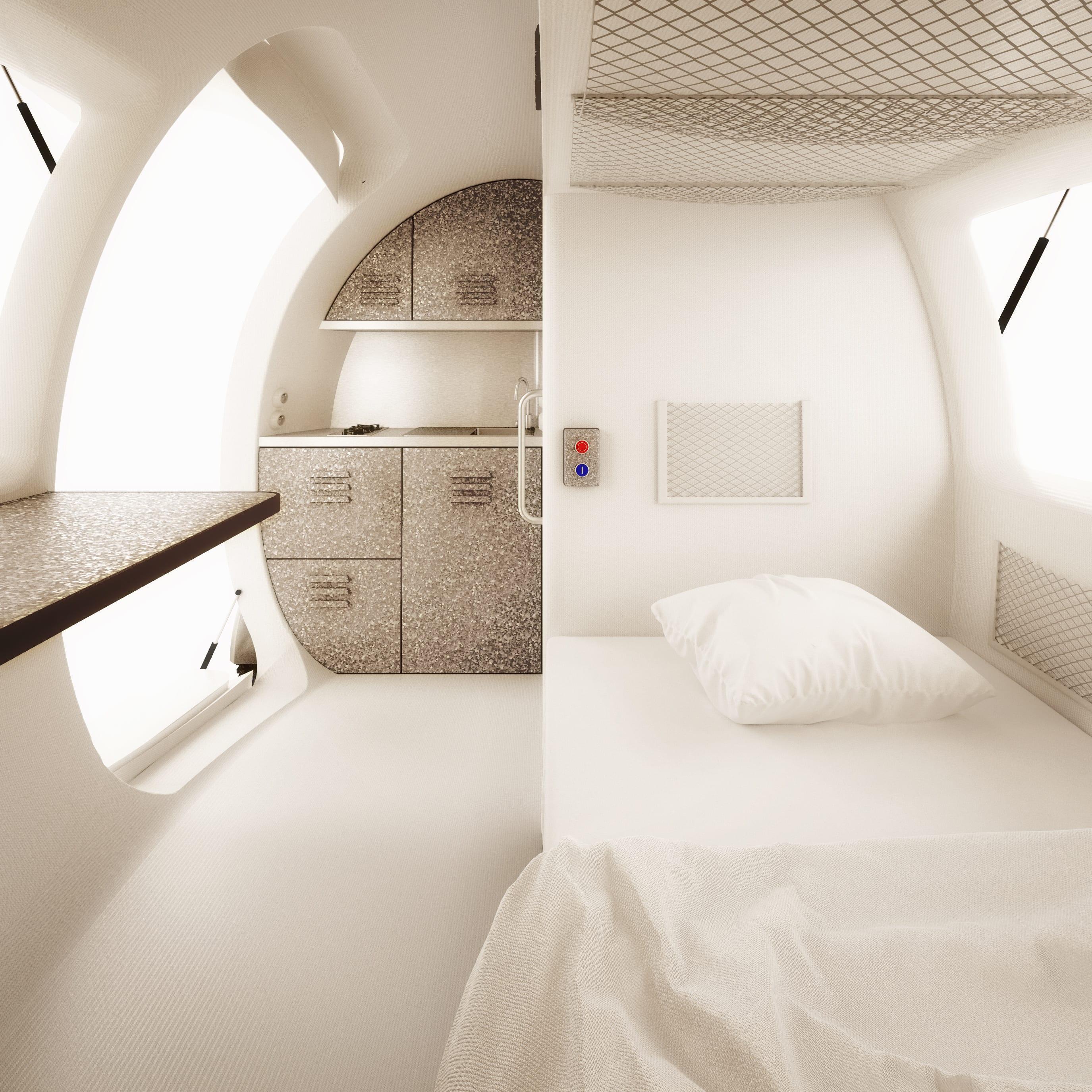 ein kleines wohnmobil von innen mit schlafnische und kleiner k cke freshouse. Black Bedroom Furniture Sets. Home Design Ideas