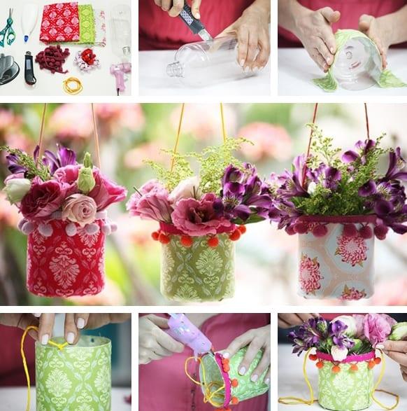 Bastelidee mit Textilien und PET-Flaschen