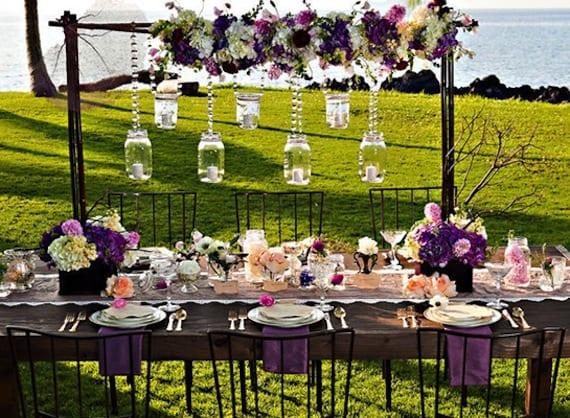 inspiration für gartenparty und tischdeko in lila und weiß