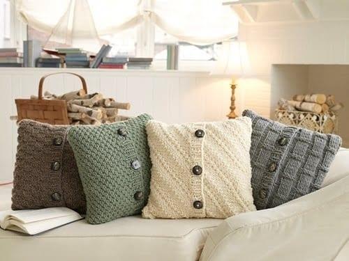 bastelidee mit alten strickkleider für DIY Kissenbezug