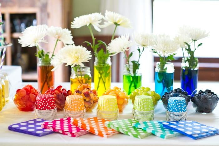 coole farbgestaltung und Tischdeko für partys