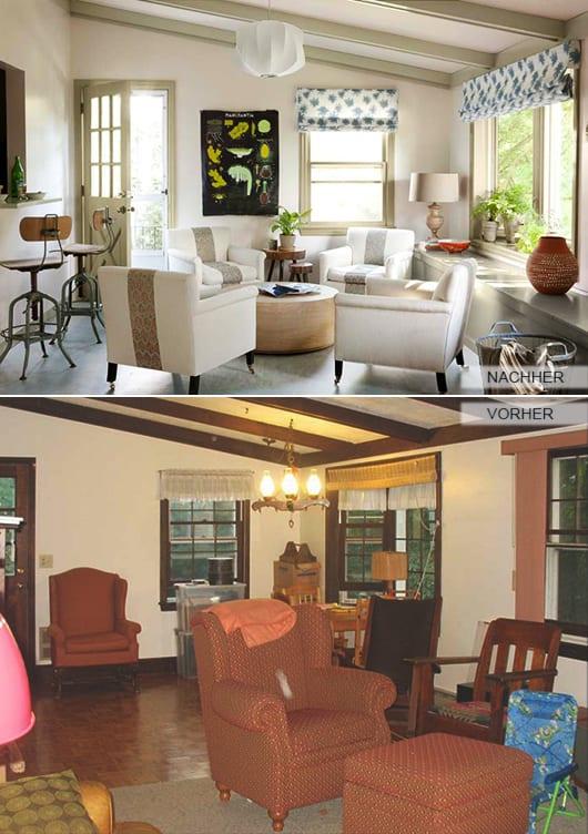 kleines wohnzimmer weiß mit dachschräge  und polstersessel weiß mit couchtisch rund