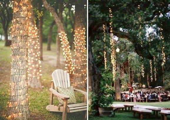 baumdekoration mit leuchten als idee für gartenparty deko