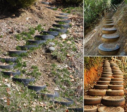 DIY Gartentreppe aus alten Autoreifen