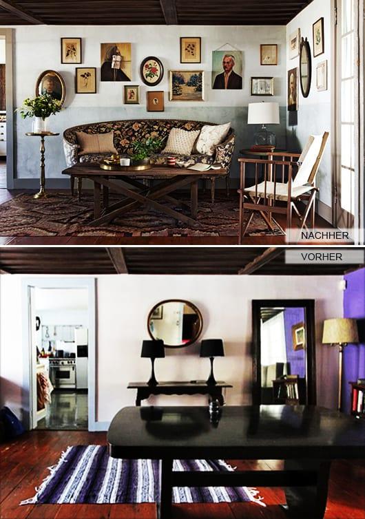 wohnzimmer einrichten mit DIY couchtisch holz und Sofa mit blumenmuster_wand streichen idee