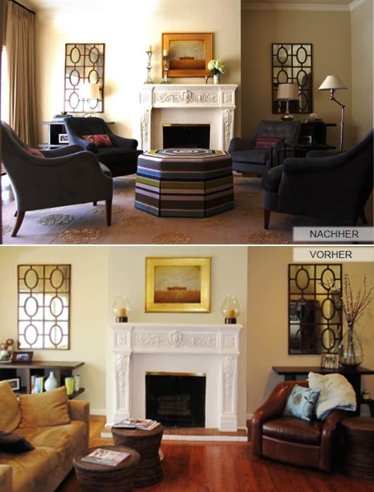 wohnzimmer mit kamin und wandfarbe beige_wanddeko mit spiegeln