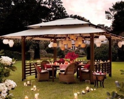 gartenlaube deko idee für gartenpartys