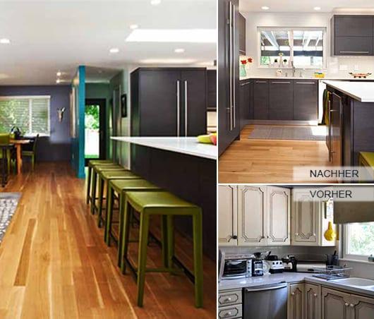 idee zum Küche Renovieren mit Holzboden und schwarzen Küchenschränke