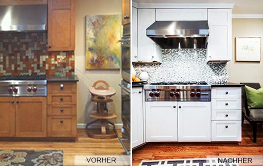 alte küche umgestalten mit mosaik in schwarz-weiß und küchenschränke in weiß streichen