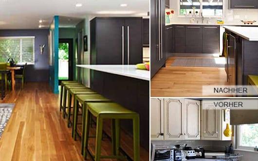 küche-modern-renovieren-mit-kochinsel-schwarz-und-Barhocker-grün ...