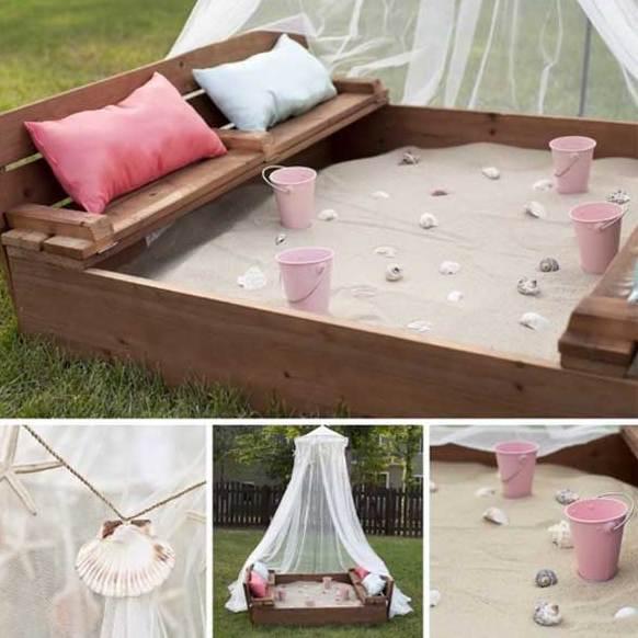 DIY Sandkasten mit sitzen zum spielen im freien