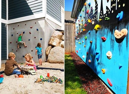kletterwand im freien als idee für kinderspielplatz selber bauen
