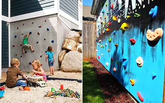 kinderspielplatz im garten selber bauen diy kletterwand. Black Bedroom Furniture Sets. Home Design Ideas