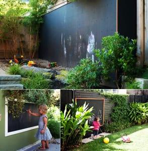 Kinderspileplatz mit schwartafel als gartendeko idee for Gartendeko idee