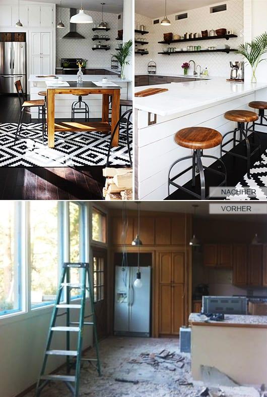 küche weiß mit holzboden und Teppich schwarz-weiß_Idee für küche mit Bar in weiß und barhocker holz