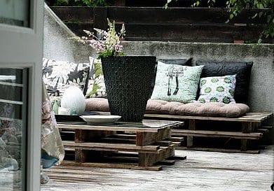 terrasse einrichten mit DIY Terrassenmöbeln aus Europaletten