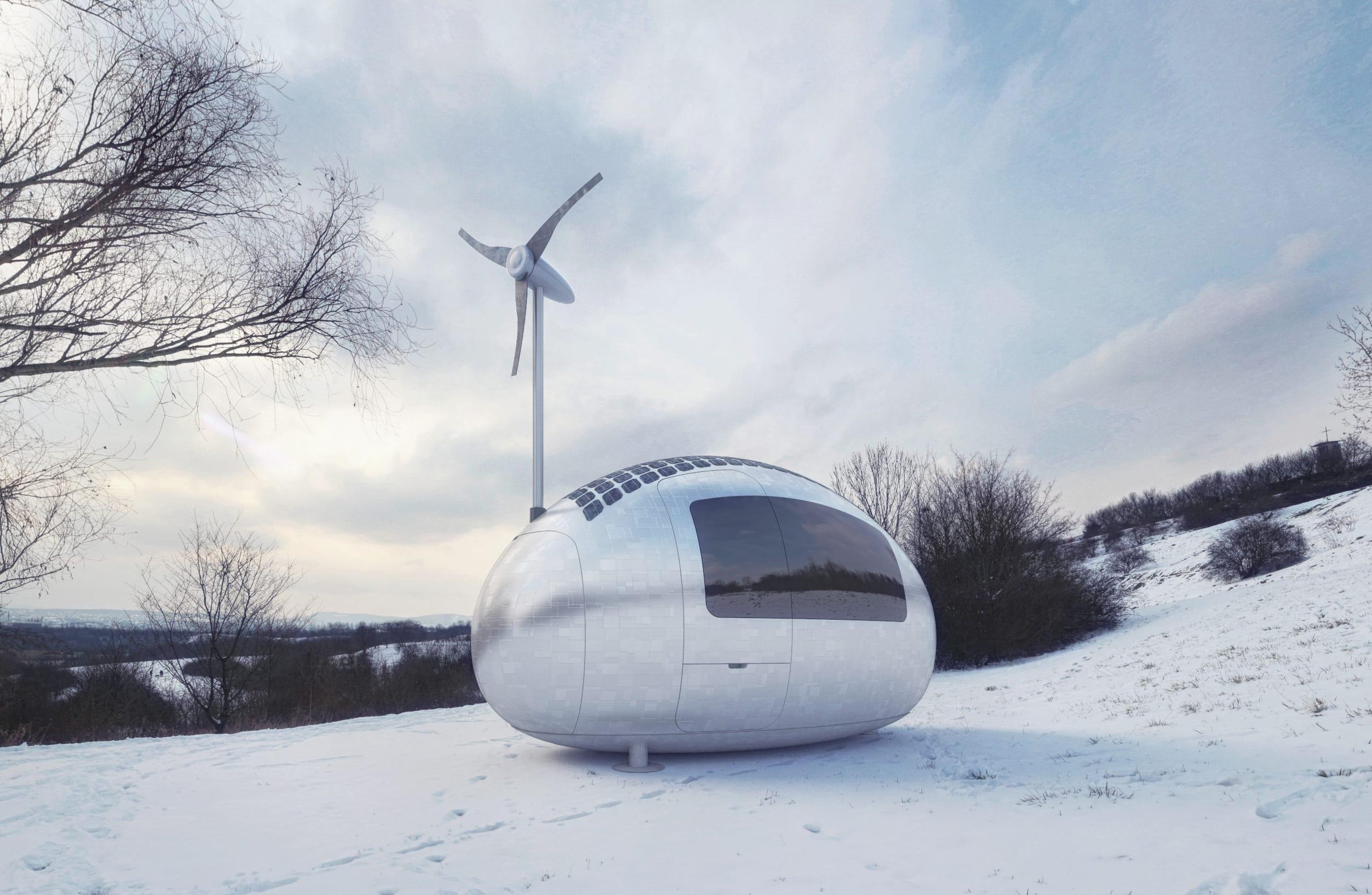 mobiles haus mit Wind- und Solarenergieversorgung