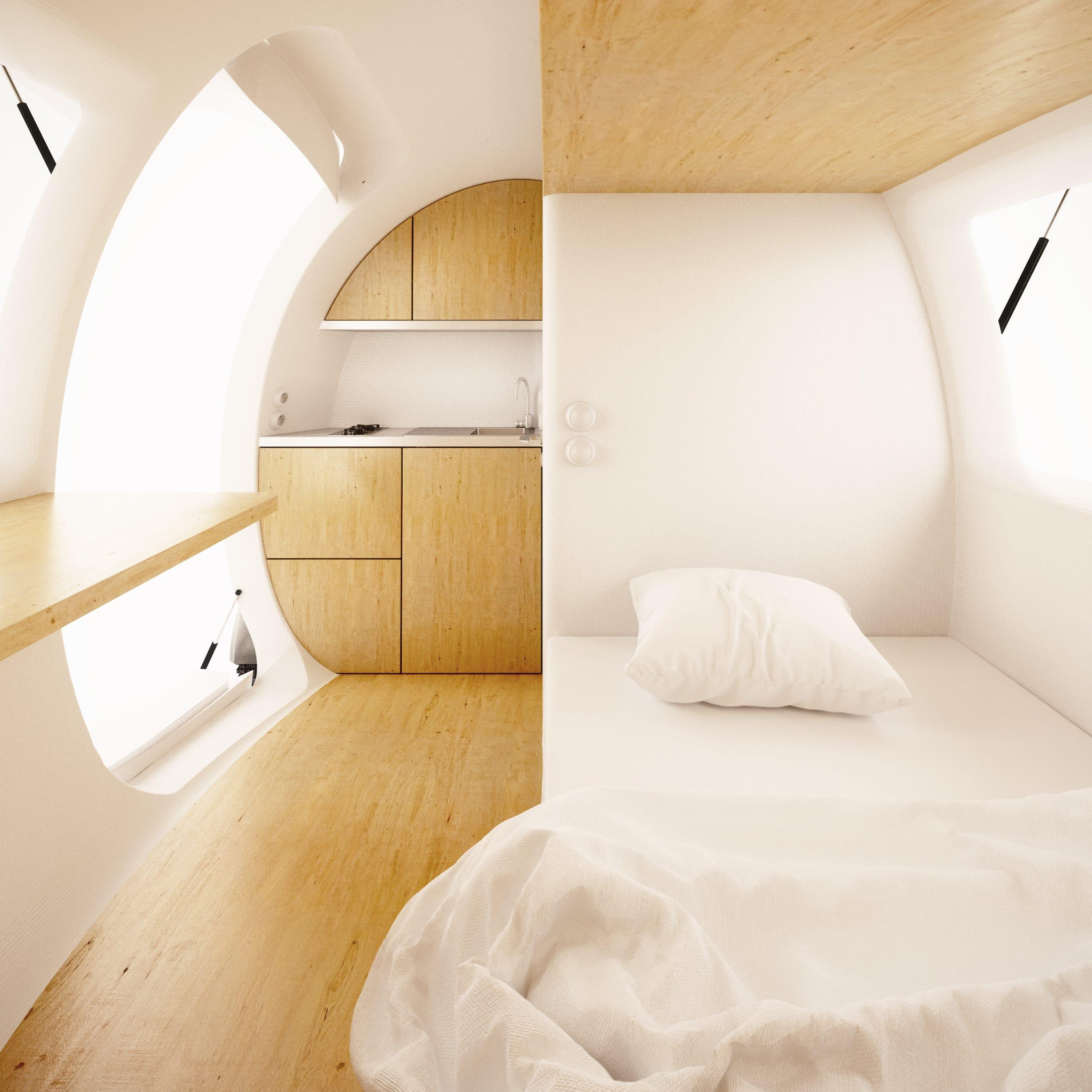 kleines Zimmer mit holzboden und Küche holz einrichten