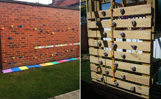 kinderspielplatz mit DIY kletterwand für kinder
