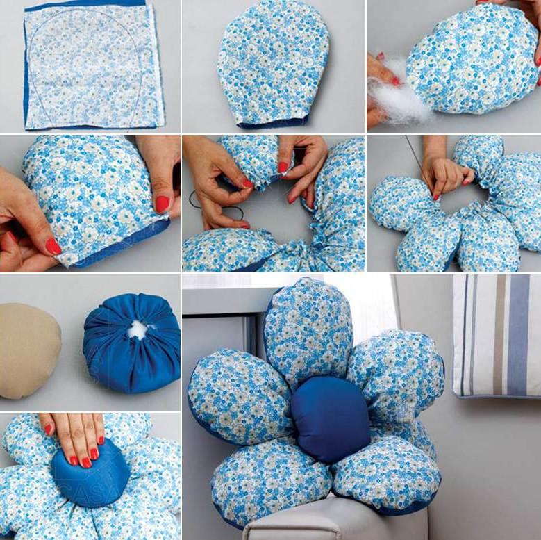 fantastische idee für blume-kissen in blau selber zu nähen