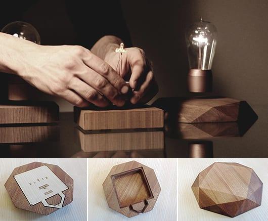 coole Idee für Raumgestaltung mit schwebender Leuchte als Tischlampe