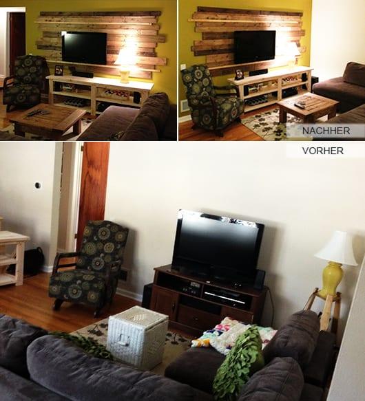 wohnzimmer farbgestaltung und einrichtung mit ecksofa braun und couchtisch holz
