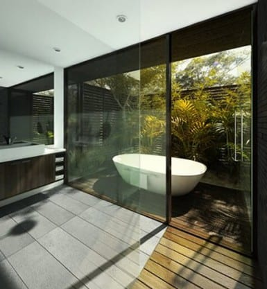 moderne badezimmerideen mit garten und badewanne im garten