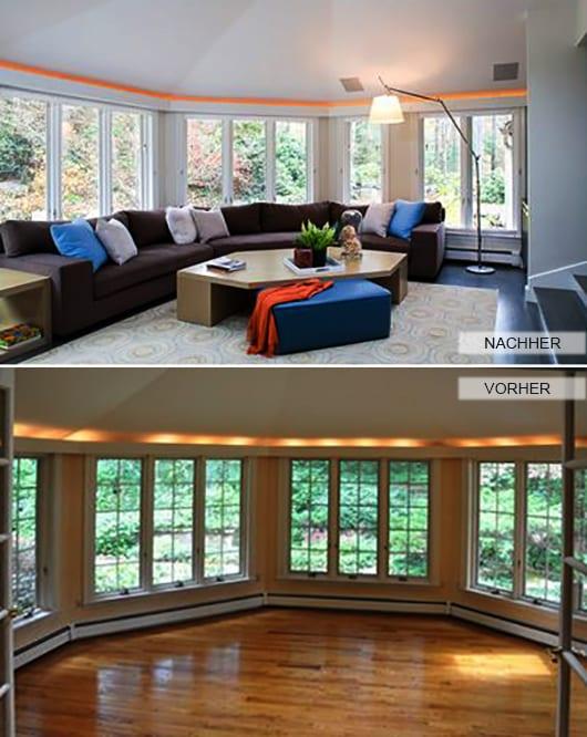 renovieren vom wohnzimmer mit deckenbeleuchtung