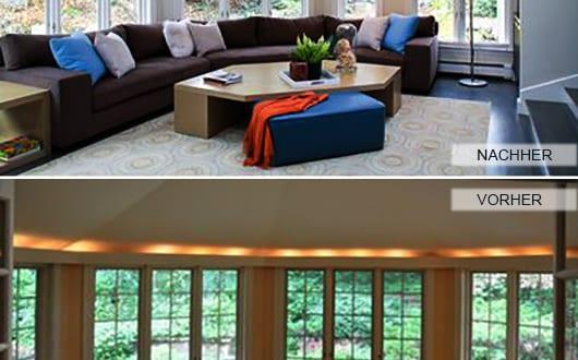 renovieren ideen wohnzimmer renovierung in wei mit ecksofa braun und couchtisch holz freshouse. Black Bedroom Furniture Sets. Home Design Ideas