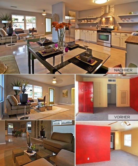 modernes wohnzimmer mit wandfarbe hellblau und küche weiß_türrahmen streichen in grün