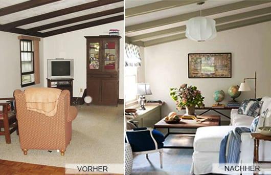 wohnzimmer mit dachschräge und ecksofa weiß mit couchtisch holz_deckengestaltung mit sichtbaren deckenbalken