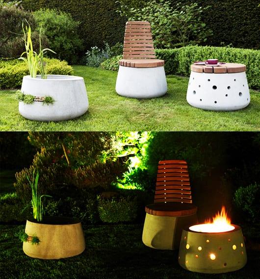 kreative Garteneinrichtung mit runden Betonmöbeln
