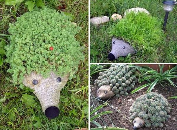 Bastelidee mit Pet Flaschen für DIY Igel-Blumentopf