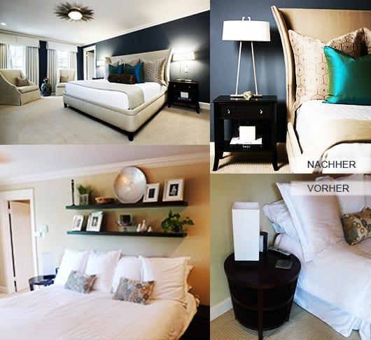 luxus schlafzimmer mit wandfarbe blau und bet mit bettwäsche beige