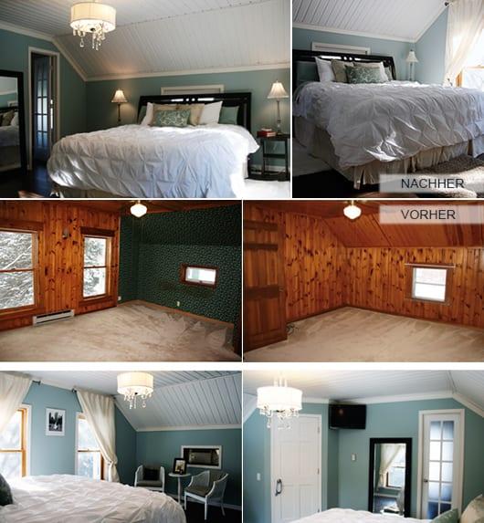 schlafzimmer dachschräge mit wandfarbe blau und deckenverkleidung aus holz in weiß