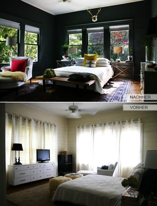 moderne schlafzimmer inspiration mit wandfarbe dunkelgrün