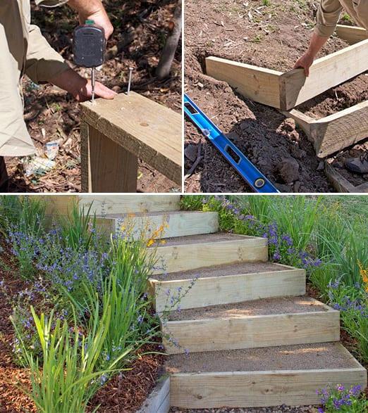 DIY Gartentreppe Ideen mit Holz
