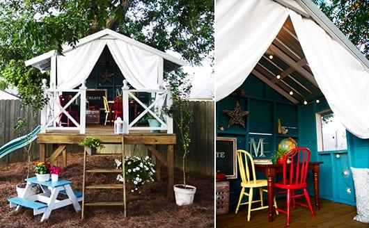 Gartenhaus mit schrägdach und blaue wänden zum spielen im freien