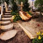 gartengestaltung mit holz als Kinderspielplatz mit DIY Gartentreppe und DIY sandkasten mit Holzrutsche
