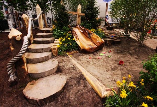 gartengestaltung mit holz als Kinderspielplatz mit DIY Gartentreppe ...