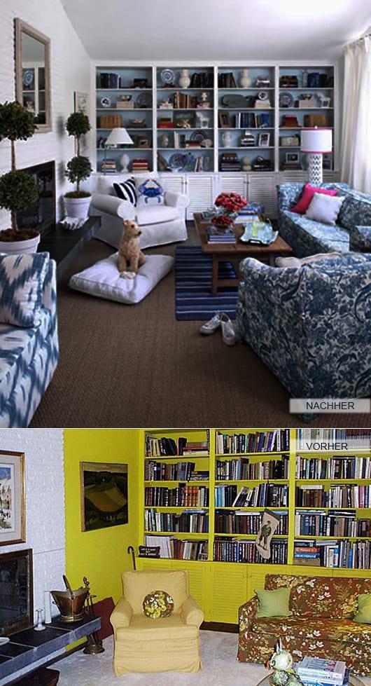 wohnzimmer farbgestaltung in weiß und blau mit eingebauten bücherregalen